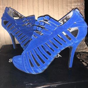 Worn once suede royal blue heels